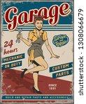 retro garage repair service... | Shutterstock .eps vector #1308066679