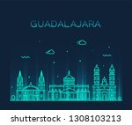 guadalajara skyline  jalisco ... | Shutterstock .eps vector #1308103213