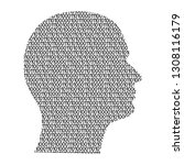 silhouette of male head on the... | Shutterstock . vector #1308116179