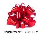 red gift bow on white | Shutterstock . vector #130811624