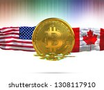 bitcoin with usa flag canada... | Shutterstock . vector #1308117910