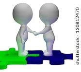 shaking hands 3d characters... | Shutterstock . vector #130812470
