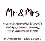 hand brush alphabet with love... | Shutterstock .eps vector #1308134053