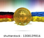 bitcoin with germany flag and... | Shutterstock . vector #1308139816