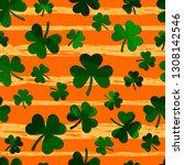 green motley shamrock on grunge ... | Shutterstock .eps vector #1308142546