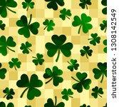 green motley shamrock shapes on ... | Shutterstock .eps vector #1308142549