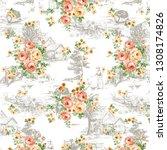 seamless duvet cover pattern... | Shutterstock . vector #1308174826