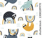 seamless childish pattern with... | Shutterstock .eps vector #1308189970