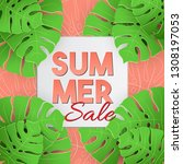 summer sale tropical vector... | Shutterstock .eps vector #1308197053