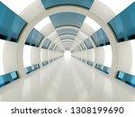 bright white circular corridor... | Shutterstock . vector #1308199690