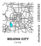 area map of beijing  china.... | Shutterstock . vector #1308201583