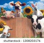 a goat, a pig, a bull, a hare, and a cow are placed in a circle. in the center is a plane with a wooden texture. animals are placed both in front of the fence and behind it. The background is represen