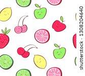 cute tropical fruit cartoon... | Shutterstock .eps vector #1308204640