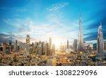 dubai sunset panoramic view of...   Shutterstock . vector #1308229096