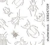 set of beetle illustrations... | Shutterstock . vector #1308247339