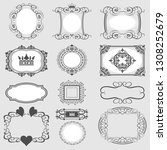 vintage frames set. decorative... | Shutterstock .eps vector #1308252679