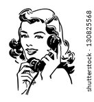 Cute Gal On The Phone - Retro Clip Art Illustration   Shutterstock vector #130825568