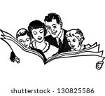 family reading newspaper  ... | Shutterstock .eps vector #130825586