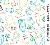 hand drawn doodle plastic... | Shutterstock .eps vector #1308259963