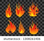 set of bonfire flame. easy to... | Shutterstock .eps vector #1308261406