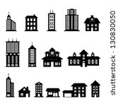building black and white set | Shutterstock .eps vector #130830050