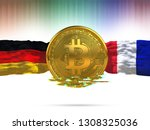 bitcoin with germany flag and... | Shutterstock . vector #1308325036