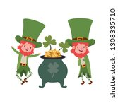 leprechauns with cauldron... | Shutterstock .eps vector #1308335710