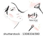 beautiful woman face makeup... | Shutterstock .eps vector #1308336580
