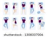 man sleeping poses. night sleep ... | Shutterstock .eps vector #1308337006