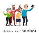 old people selfie. senior... | Shutterstock .eps vector #1308337063