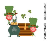 leprechauns with cauldron... | Shutterstock .eps vector #1308338350