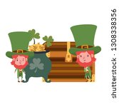 leprechauns with cauldron... | Shutterstock .eps vector #1308338356