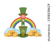 leprechaun with rainbow avatar... | Shutterstock .eps vector #1308338629
