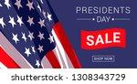 vector presidents day sale...   Shutterstock .eps vector #1308343729