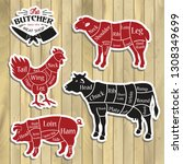 meat cuts. diagrams for butcher ...   Shutterstock .eps vector #1308349699