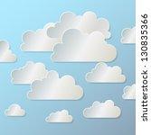 white paper cloud  on  blue... | Shutterstock .eps vector #130835366