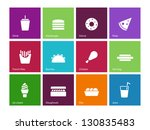 fast food icons on color... | Shutterstock .eps vector #130835483