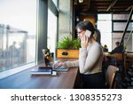 happy smiling woman...   Shutterstock . vector #1308355273