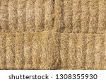 stacked hay bales for background | Shutterstock . vector #1308355930