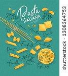 poster lettering pasta italiana ... | Shutterstock .eps vector #1308364753