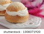 fastelavn buns on a cutting...   Shutterstock . vector #1308371920