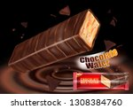 milk chocolate flavor with... | Shutterstock .eps vector #1308384760