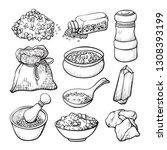 food salt sketch  natural... | Shutterstock .eps vector #1308393199