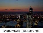 views of sunset in new york... | Shutterstock . vector #1308397783