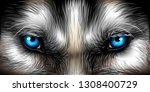 siberian husky bright blue eyes ...   Shutterstock .eps vector #1308400729