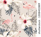 pink flamingo  palm leaves ... | Shutterstock .eps vector #1308402889