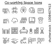 co working space icon set in... | Shutterstock .eps vector #1308407413