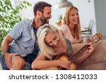 friends having fun at home...   Shutterstock . vector #1308412033