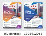 fitness gym flyer template  | Shutterstock .eps vector #1308412066