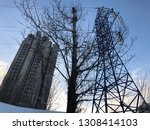 building  tree and power supply ... | Shutterstock . vector #1308414103
